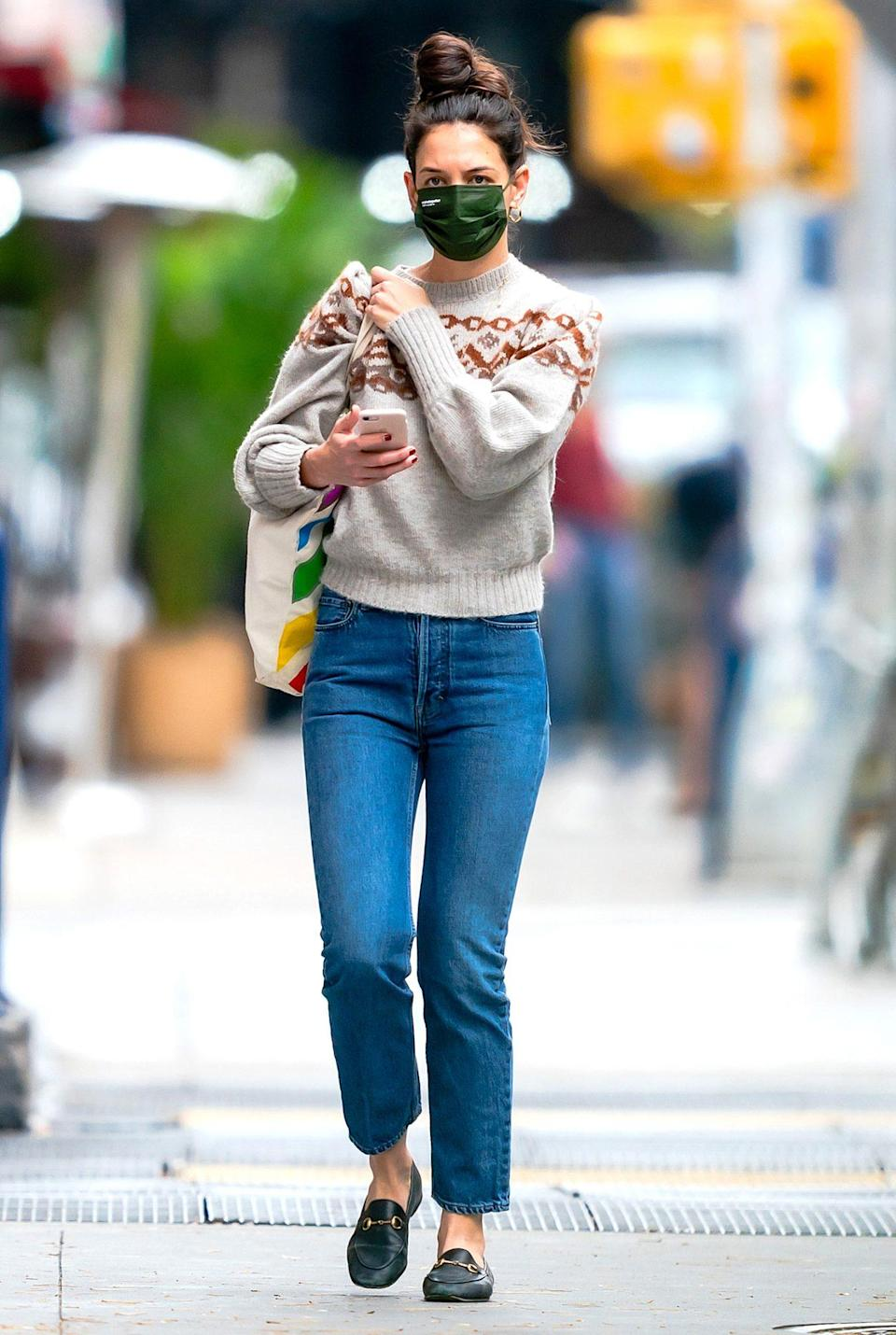 <p>Katie Holmes looks casual while stepping out on Thanksgiving in N.Y.C.</p>