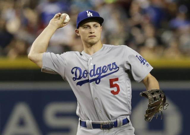 Los Angeles Dodgers shortstop Corey Seager (5) during a baseball game against the Arizona Diamondbacks, Tuesday, April 3, 2018, in Phoenix. (AP Photo/Rick Scuteri)