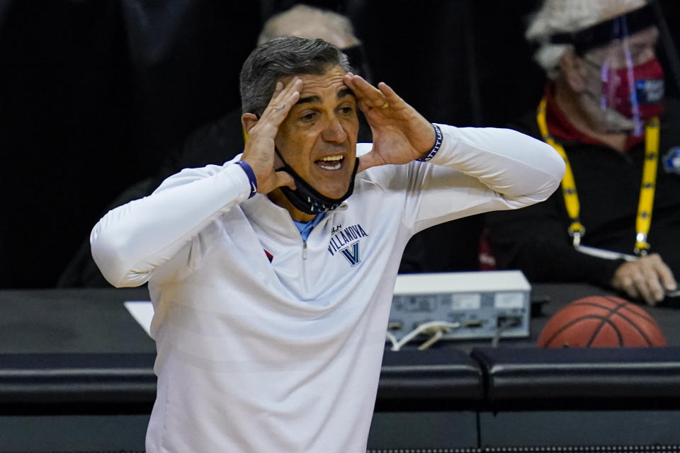 Villanova head coach Jay Wright yells to his team as they played against Winthrop in the second half of a first round game in the NCAA men's college basketball tournament at Farmers Coliseum in Indianapolis, Friday, March 19, 2021. (AP Photo/Michael Conroy)