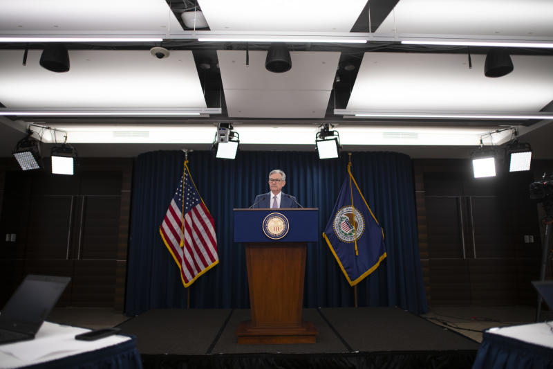 WASHINGTON, DC - MARCH 03: Federal Reserve Chair Jerome H. Powell announces a half percentage point interest rate cut during a speech on March 3, 2020 in Washington, DC. (Photo by Mark Makela/Getty Images)