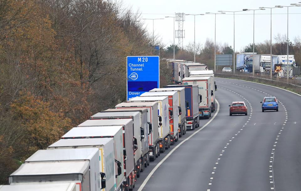 <p>Freight lorries queue on M20</p>Gareth Fuller/PA Wire