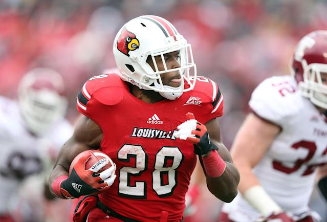 LOUISVILLE, KY - NOVEMBER 03: Jeremy Wright #28 of the Louisville Cardinals runs with the ball during the game against the Temple Owls at Papa John's Cardinal Stadium on November 3, 2012 in Louisville, Kentucky. (Photo by Andy Lyons/Getty Images)