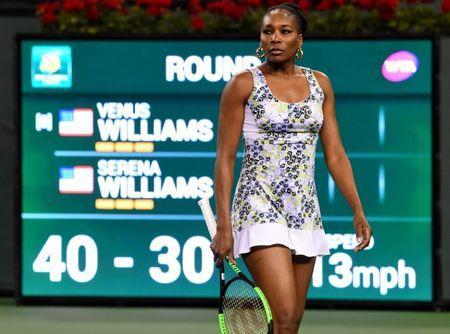 Mar 12, 2018; Indian Wells, CA, USA; Venus Williams (USA) during her third round match against Serena Williams (not pictured) in the BNP Paribas Open at the Indian Wells Tennis Garden. Venus Williams won the match. Mandatory Credit: Jayne Kamin-Oncea-USA TODAY Sports