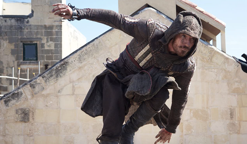 "<span class=""caption"">Michael Fassbender in the Assassin's Creed film.</span> <span class=""attribution""><a class=""link rapid-noclick-resp"" href=""https://www.youtube.com/watch?v=gfJVoF5ko1Y&ab_channel=JimmyKimmelLive"" rel=""nofollow noopener"" target=""_blank"" data-ylk=""slk:20th Century Fox/Youtube"">20th Century Fox/Youtube</a></span>"