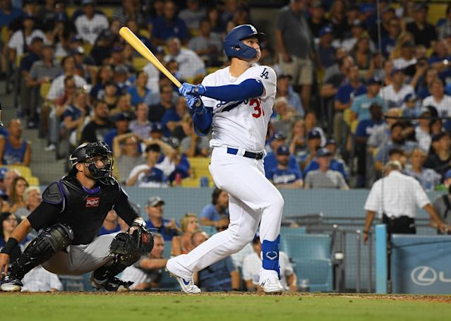 Joc Pederson's fifth home run in six at-bats pushed the Dodgers to the NL home run record. (Reuters)