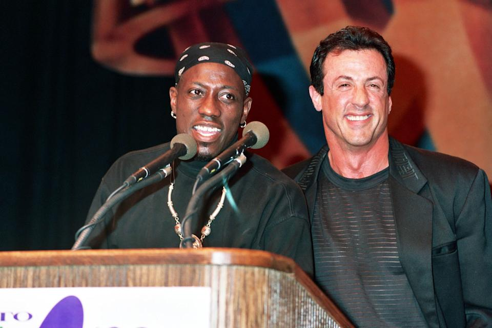 Wesley Snipes and Sylvester Stallone during 1993 ShoWest in Las Vegas, Nevada, United States. (Photo by Jeff Kravitz/FilmMagic, Inc)