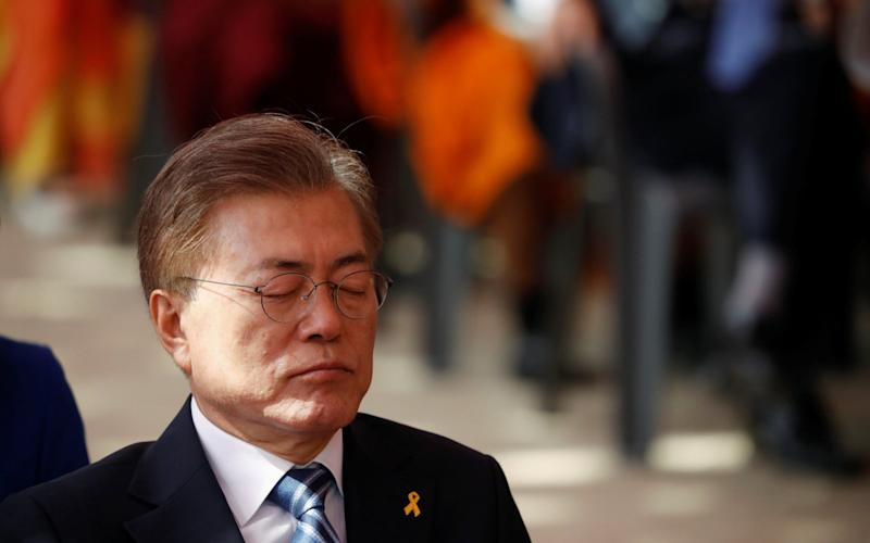 Moon Jae-in, presidential candidate of the Democratic Party of Korea,