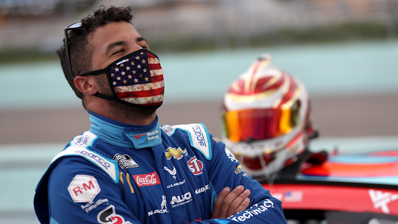 Bubba Wallace responds to President Donald Trump's 'hoax' tweet: 'Love over hate every day'