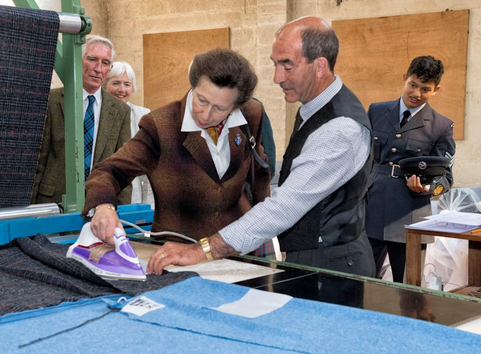 Princess Anne visits the Harris Tweed mill at Shawbost on the Isle of Lewis - PA