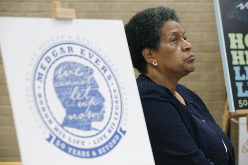 Myrlie Evers-Williams, widow of slain civil rights activist Medgar Evers, listens as her daughter Reena Evers-Everette announces events commemorating the 50th anniversary of his assassination during a news conference in Jackson, Miss., Thursday, April 11, 2013. (AP Photo/Rogelio V. Solis)