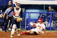 """<p>Event: Women's softball </p> <p>Quote: <a href=""""https://www.instagram.com/p/CR1iFQRrdfe/"""" rel=""""nofollow noopener"""" target=""""_blank"""" data-ylk=""""slk:Cat Osterman"""" class=""""link rapid-noclick-resp"""">Cat Osterman</a>: """"Not the outcome we wanted, but damn I'm proud of the fight, passion belief and effort this team put into every single pitch of these Olympic Games.""""</p>"""
