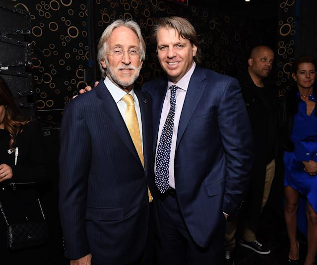 Todd Boehly (right) is eyeing up Chelsea as he seeks to buy a Premier League club. (Photo by Michael Kovac/Getty Images for NARAS)