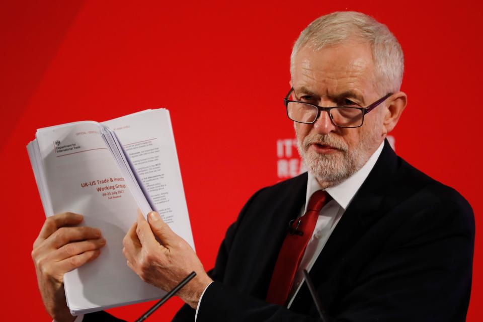 Opposition Labour party leader Jeremy Corbyn holds up unredacted documents from the government's UK-US trade talks during a press conference in London on November 27, 2019. (Photo by Tolga AKMEN / AFP) (Photo by TOLGA AKMEN/AFP via Getty Images)