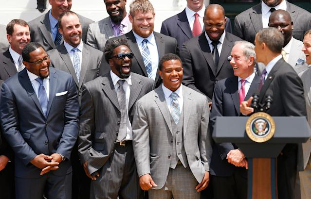 WASHINGTON, DC - JUNE 05: From left, linebacker Ray Lewis, safety Ed Reed, running back Ray Rice and team president Dick Cass of the National Football League Super Bowl champion Baltimore Ravens laugh while listening to U.S. President Barack Obama (R) give remarks during a South Lawn ceremony on June 5, 2013 in Washington, DC. The Ravens defeated the San Francisco 49ers 34-31 in Super Bowl XLVII. (Photo by Rob Carr/Getty Images)