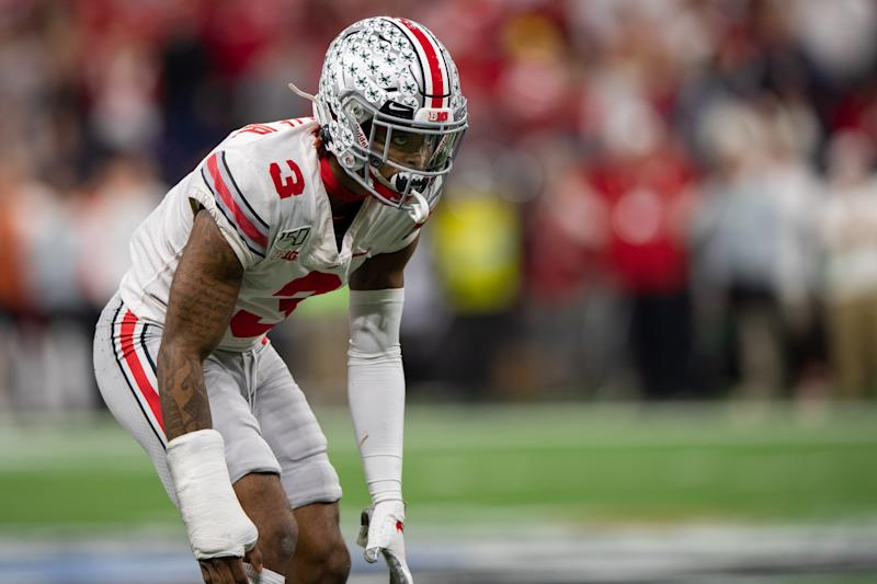 Ohio State CB Damon Arnette played the 2019 season with a cast on his wrist. (Photo by Zach Bolinger/Icon Sportswire via Getty Images)