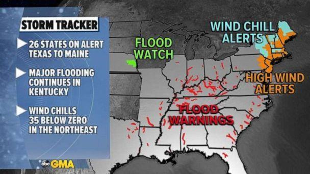 PHOTO: There are flood warnings from Texas to Ohio on Tuesday and 26 states from Texas to Maine are under flood, high winds and wind chill alerts. (ABC News)