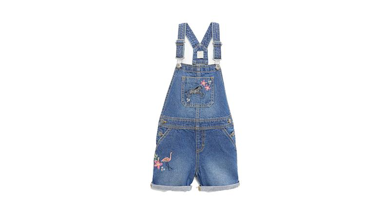 Girls' Embroidered Dungaree Shorts