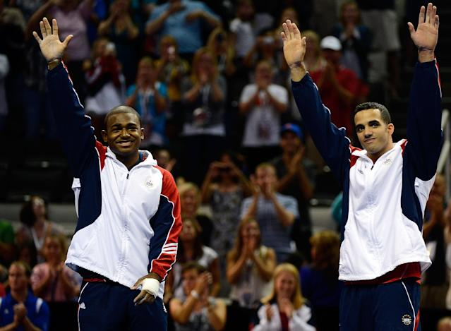 SAN JOSE, CA - JUNE 30: (L-R) John Orozco and Danell Leyva celebrate after being named to the men's Olympic team during day 3 of the 2012 U.S. Olympic Gymnastics Team Trials at HP Pavilion on June 30, 2012 in San Jose, California. (Photo by Ronald Martinez/Getty Images)