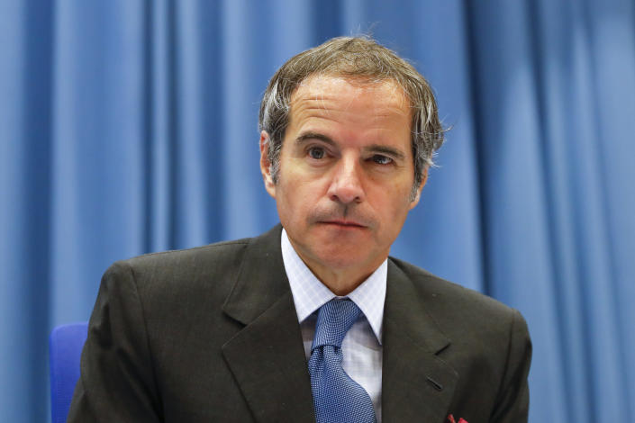 Director General of the International Atomic Energy Agency, IAEA, Rafael Mariano Grossi from Argentina, before the start of the IAEA Board of Governors Meeting at the Vienna International Center in Vienna in Vienna, Austria, Monday, June 7, 2021. (AP Photo/Lisa Leutner)