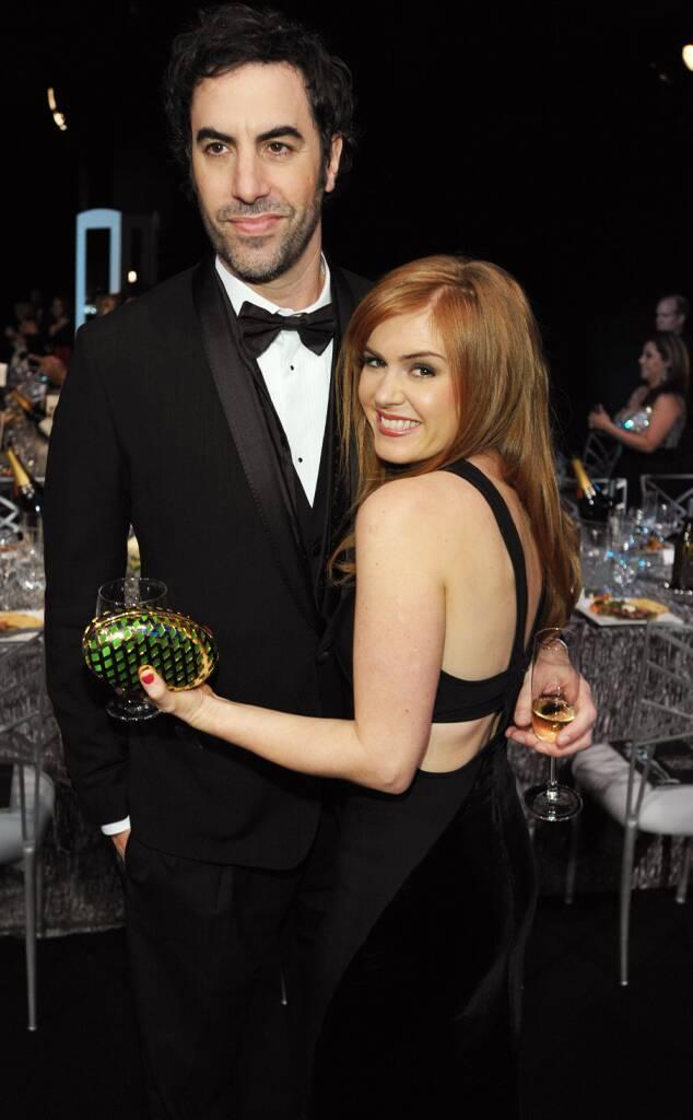 Sacha Baron Cohen, Isla Fisher, First Time Photographed at SAGs, 2013