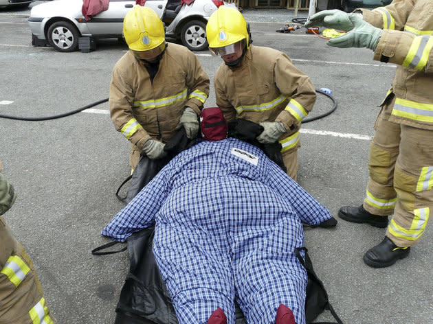 Fire crews are training with 40st mannequins to help them preparing for saving the lives of obese members of the public
