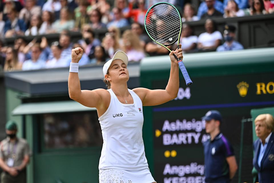 Pictured here, Ash Barty celebrates after her Wimbledon semi-final victory over Angelique Kerber.