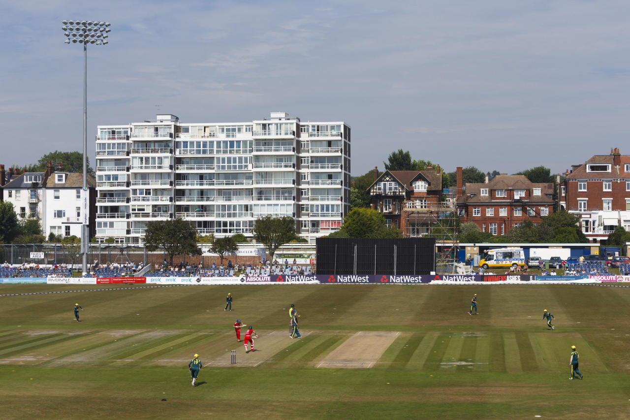 A general view of the action during the One Day International at The County Ground, Hove.