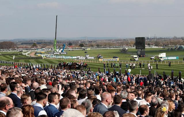 Horse Racing - Grand National Festival - Aintree Racecourse, Liverpool, Britain - April 14, 2018 General view during the 13:45 Gaskells Handicap Hurdle Action Images via Reuters/Matthew Childs