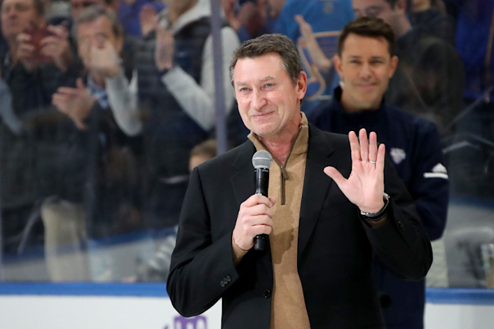 ST LOUIS, MISSOURI - JANUARY 24: Wayne Gretzky addresses fans prior to the 2020 NHL All-Star Skills Competition.