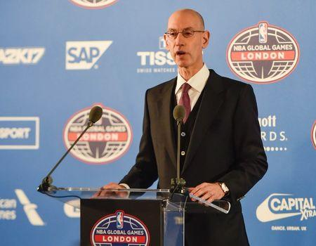 Jan 12, 2017; London, United Kingdom; NBA commissioner Adam Silver speaks at a press conference before a NBA game between the Indiana Pacers and the Denver Nuggets at the O2 Arena. Mandatory Credit: Steve Flynn-USA TODAY Sports
