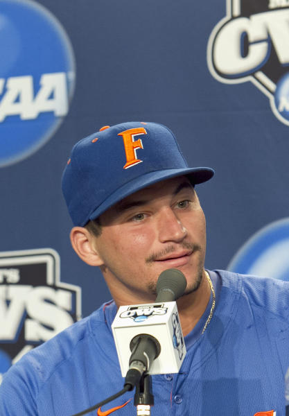 FILE - This June 26, 2011 file photo shows Florida's Mike Zunino speaking during a news conference at TD Ameritrade Park in Omaha, Neb. The Houston Astros have the No. 1 pick in the baseball draft, Monday night June 4, 2012 in Secaucus, N.J. (AP Photo/Nati Harnik, File)