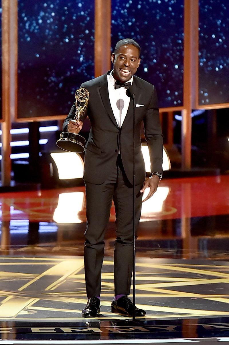 Brown was played off stage before he got a chance to finish his acceptance speech. (Jeff Kravitz via Getty Images)