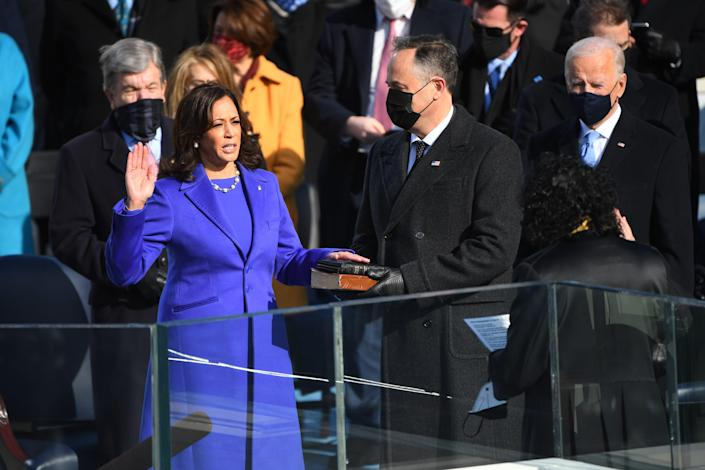 Vice President-elect Kamala Harris is sworn in during the 2021 Presidential Inauguration of President Joe Biden and Vice President Kamala Harris at the U.S. Capitol.