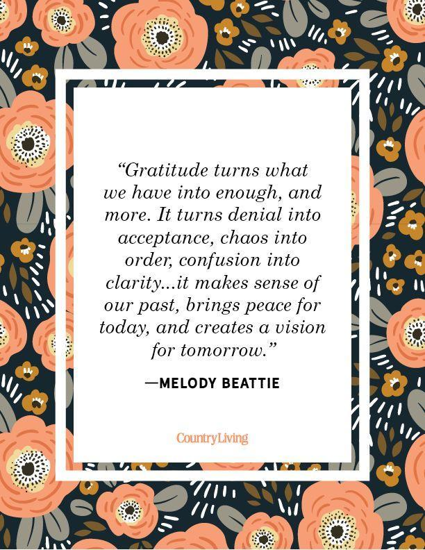 """<p>""""Gratitude turns what we have into enough, and more. It turns denial into acceptance, chaos into order, confusion into clarity...it makes sense of our past, brings peace for today, and creates a vision for tomorrow."""" </p>"""