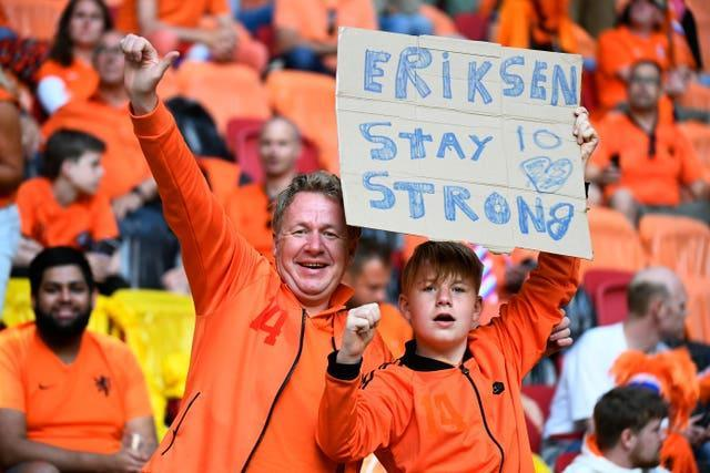 Holland fans showed their support for Denmark's Christian Eriksen, who used to play at Ajax, in Amsterdam