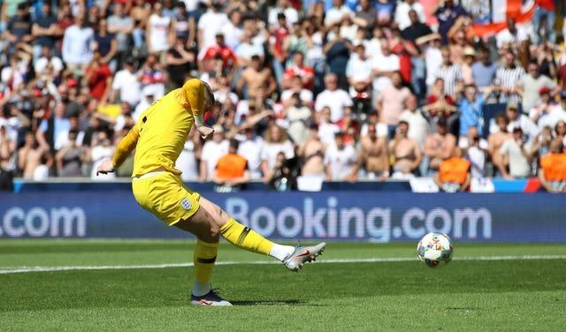 Jordan Pickford scores against Switzerland in the Nations League third-placed play-off penalty shootout in 2019