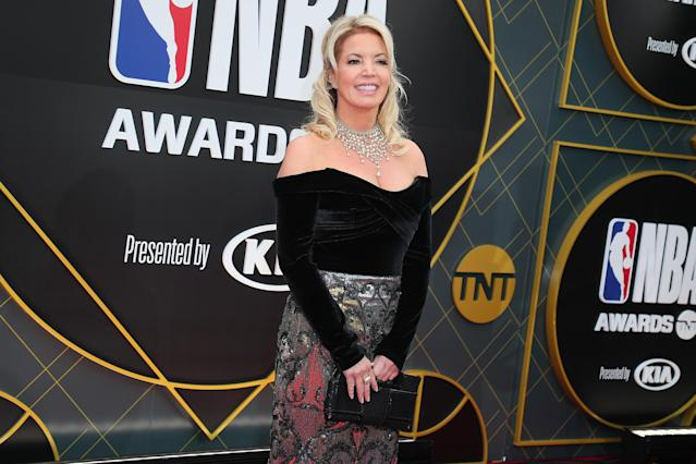 Lakers owner Jeanie Buss is among the NBA owners who have pledged to compensate arena workers through the end of the regular season. (Leon Bennett/WireImage)