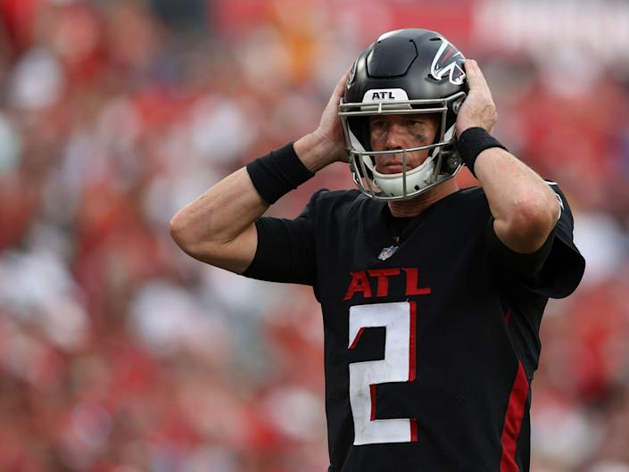 Matt Ryan listens to a play call against the Tampa Bay Buccaneers.