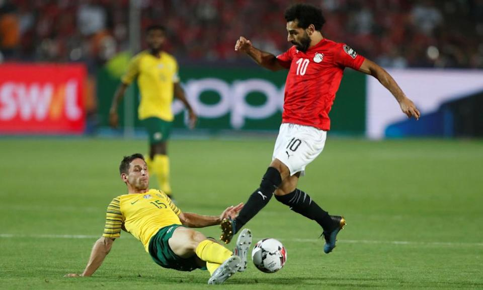 Egypt's Mohamed Salah is tackled by Furman during South Africa's last-16 win against the 2019 Africa Cup of Nations hosts