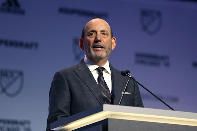 "MLS commissioner Don Garber is among the notable figures expected to be at Monday's ""major"" announcement in Sacramento. (Getty)"