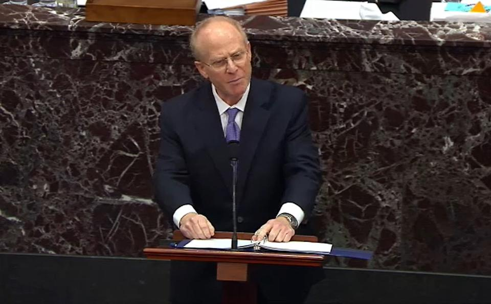 "WASHINGTON, DC - FEBRUARY 12: In this screenshot taken from a congress.gov webcast, former President Donald Trump's defense attorney David Schoen speaks on the fourth day of former President Donald Trump's second impeachment trial at the U.S. Capitol on February 12, 2021 in Washington, DC. House impeachment managers will make the case that Trump was ""singularly responsible"" for the January 6th attack at the U.S. Capitol and he should  be convicted and barred from ever holding public office again. (Photo by congress.gov via Getty Images)"