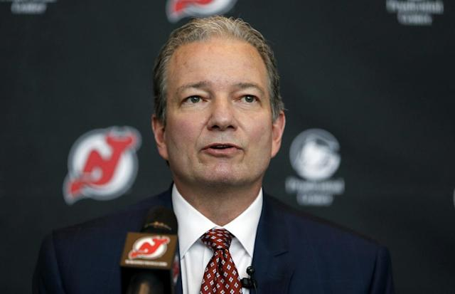 New Jersey Devils general manager Ray Shero speaks during a NHL hockey news conference introducing John Hynes as the team's new head coach, Tuesday, June 2, 2015, in Newark, N.J. (AP Photo/Julio Cortez)