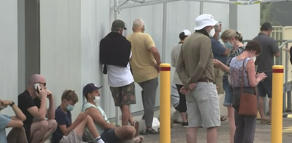 Lengthy queues have formed at Mona Vale this morning. Source: ABC