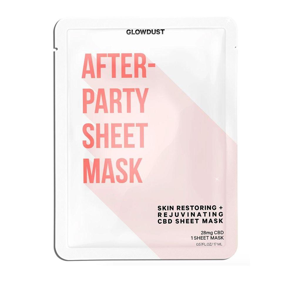 """<p><strong>Glow Dust Beauty</strong></p><p>glowdustbeauty.com</p><p><strong>$9.00</strong></p><p><a href=""""https://glowdustbeauty.com/products/after-party-sheet-mask"""" rel=""""nofollow noopener"""" target=""""_blank"""" data-ylk=""""slk:Shop Now"""" class=""""link rapid-noclick-resp"""">Shop Now</a></p><p>Since she couldn't find a sheet mask that worked for her, she decided to make one herself through her CBD skincare line, <a href=""""https://glowdustbeauty.com/"""" rel=""""nofollow noopener"""" target=""""_blank"""" data-ylk=""""slk:Glowdust Beauty"""" class=""""link rapid-noclick-resp"""">Glowdust Beauty</a>.</p><p>""""My first at-home spa essential is the <a href=""""https://glowdustbeauty.com/products/after-party-sheet-mask"""" rel=""""nofollow noopener"""" target=""""_blank"""" data-ylk=""""slk:Glowdust After-Party Sheet Mask"""" class=""""link rapid-noclick-resp"""">Glowdust After-Party Sheet Mask</a>,"""" she says. """"The all-natural ingredients and CBD have really nursed my skin back to life by keeping it hydrated all day long. I use it 2–3 times per week and my skin looks like I just got a facial after just 15 minutes of wearing it. It is a must in my skincare routine.""""</p>"""