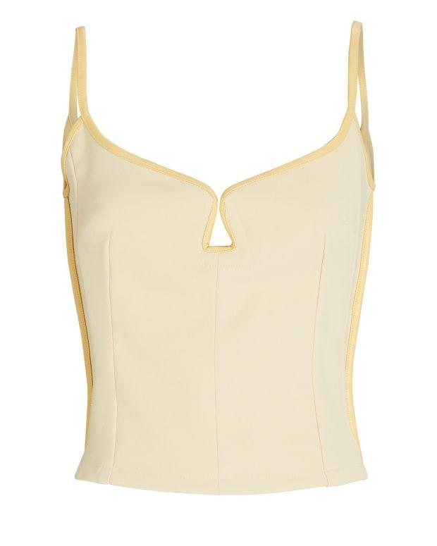 """<p>Paris Georgia Marlo Crepe Tank Top, $269 (from $385), <a href=""""https://rstyle.me/+19J5tLS3Fp0OdCHwO50XNw"""" rel=""""nofollow noopener"""" target=""""_blank"""" data-ylk=""""slk:available here"""" class=""""link rapid-noclick-resp"""">available here</a> (sizes XS-XL). </p>"""