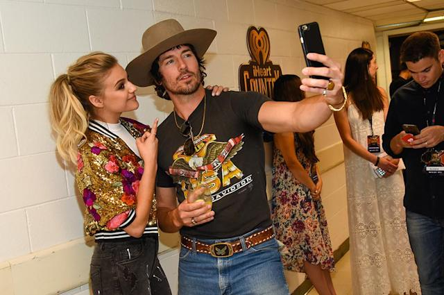 <p>Kelsea Ballerini and Mark Wystrach (Midland) attends the 2017 iHeartCountry Festival, A Music Experience by AT&T at The Frank Erwin Center on May 6, 2017 in Austin, Texas. (Photo: Rick Kern) </p>