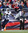 Malcolm Butler (R) of the New England Patriots intercepts a pass intended for Harry Douglas of the Tennessee Titans at Gillette Stadium on December 20, 2015 (AFP Photo/Maddie Meyer)