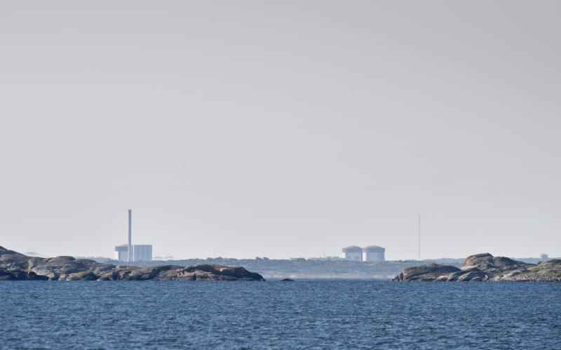 The Ringhals atomic power station  near Varberg Sweden seen in the distant Thursday June 21, 2012 .Sweden on Thursday raised the security level for the country's nuclear power plants as police investigated suspected sabotage after explosives were found on a truck at the southwestern atomic power station Ringhals.  Police said that bomb sniffer dogs detected the explosives during a routine check as security staff carried at an industrial area within the power plant's enclosure on Wednesday afternoon.  (AP Photo/Bjorn Larsson Rosvall) **  SWEDEN OUT  **