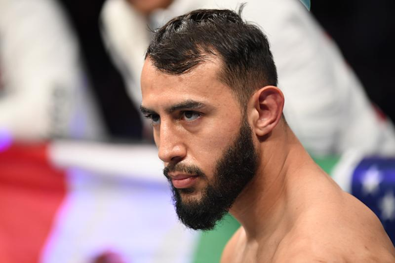 HOUSTON, TEXAS - FEBRUARY 08: Dominick Reyes stands in his corner prior to his light heavyweight championship bout during the UFC 247 event at Toyota Center on February 08, 2020 in Houston, Texas. (Photo by Josh Hedges/Zuffa LLC via Getty Images)