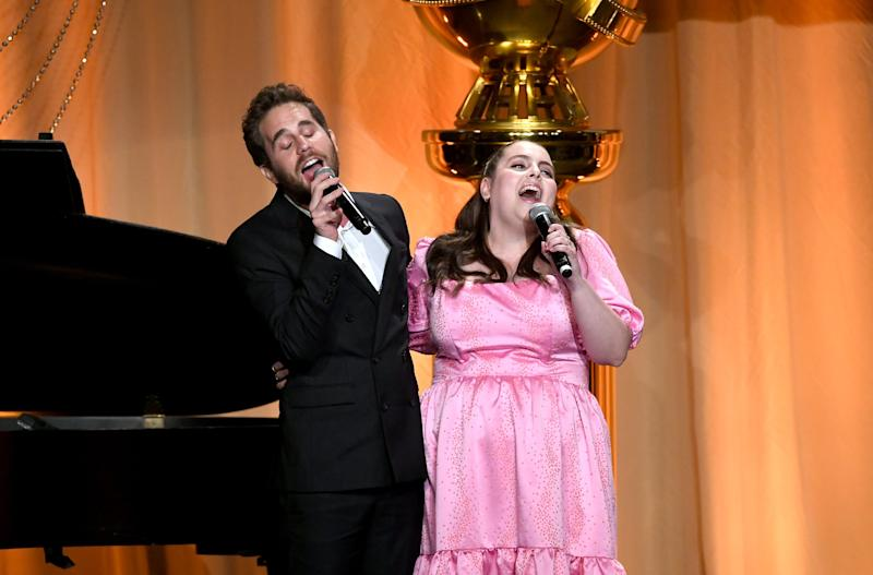 BEVERLY HILLS, CALIFORNIA - JULY 31: (L-R) Ben Platt and Beanie Feldstein speak onstage during Hollywood Foreign Press Association's Annual Grants Banquet at Regent Beverly Wilshire Hotel on July 31, 2019 in Beverly Hills, California. (Photo by Kevin Winter/Getty Images)